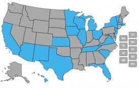 A map of the U.S. showing states with managed LTSS programs in blue and the other states in gray.