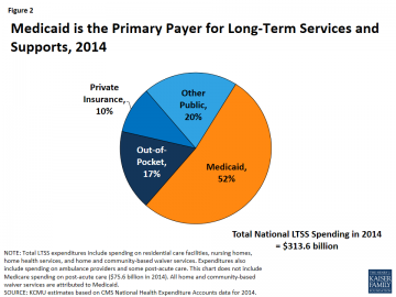 Pie chart showing Medicaid was the primary payer for LTSS in 2014