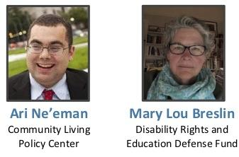 Photos of Ari Ne'eman of the Community Living Policy Center and Mary Lou Breslin of Disability Rights Education and Defense Fund