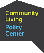 Logo of the Community Living Policy Center:  The Center's name in green and blue text on a black background, which forms a thought bubble in the shape of a house.