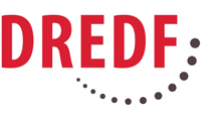 The logo of DREDF, with the organizations initials in red above a semi-circle of black dots of increasing size