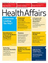 The cover of the September 2018 issue of Health Affairs
